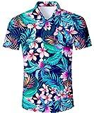 TUONROAD Camicia Hawaiana Uomo Fiori,Uomo Camicie in Manica Corta Cotone Regular Fit Button Down Casual Stile Floreale