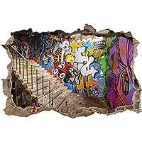 Raffreddare muro Graffiti passo avanti nel look 3D, parete o in formato adesivo porta: 92x62cm, autoadesivi della parete, autoadesivo della parete, decorazione della parete