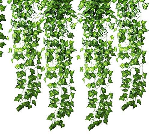 Guirlande Gofriend de 12mèches (25meters) en lierre artificiel et feuillage vert, fausse vigne à suspendre pour fête de mariage, jardin ou décoration murale