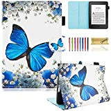 Kindle Paperwhite 3/2/1, Dteck(TM) Dünne PU Leder Ständer Schutzhülle Kinder Frauen Smart Cover Etui für Amazon Kindle Paperwhite 6 Zoll(Alle 2012 2013 2014 2015 und 2016 Versionen), Blau Schmetterling