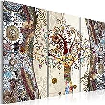 Cuadro en Lienzo 120x80 cm - 3 tres colores a elegir - 3 partes - Impresion en calidad fotografica - Cuadro en lienzo tejido-no tejido – Gustav Klimt Baum Mosaico l-C-0002-b-f 120x80 cm B&D XXL