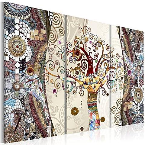 murando – Impression sur toile – 120x80 cm – 3 pieces - Image sur toile – Images – Photo – Tableau - motif moderne - Décoration - tendu sur chassis – Gustav Klimt Arbre mosa?que l-C-0002-b-f