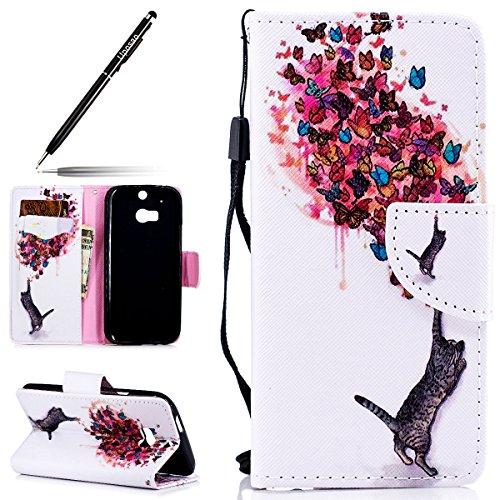 Uposao Kompatibel mit Handyhülle HTC One M8 / M8S Handytasche Bunt Retro Leder Handytasche Schutzhülle Flip Tasche Case Cover Hülle Ledertasche Lederhülle Bookstyle Klapphülle,Katze Schmetterling
