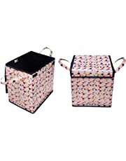 REFRESH HOME Laundry Square Shape Basket Bag/Foldable/Multipurpose/Carry Handles/, Cloth Storage (Colour and Print Might)