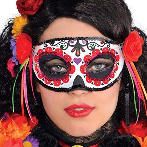 C. Riethmüller NEU Augenmaske Day of The - Tag Der Toten Für Erwachsene Standard Kostüm