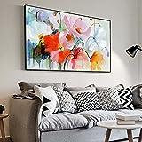 XIAOXINYUAN Aquarell Blume Öl Gemälde an der Wand Drucke auf Leinwand Abstrakte Moderne Kunst Blume Bild Wohnzimmer Dekor 60 X 80 cm Ungerahmt