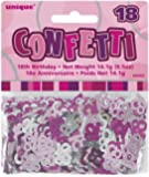 Happy Birthday Glitzerkonfetti, Zahl 18 pink und silbern