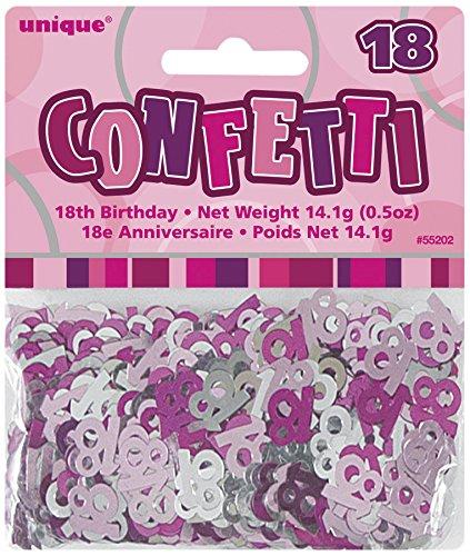 Unique party 55202 - rosa brillante coriandoli in foil per 18° compleanno