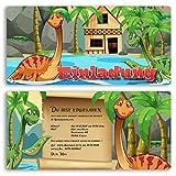 Einladungskarten Kindergeburtstag (20 Stück) Dinosaurier Kinder Jungen Mädchen Einladung Einschulung Schulanfang Party Feier Geburtstag Karte gestalten | Inkl. Druck Ihrer persönlichen Texte