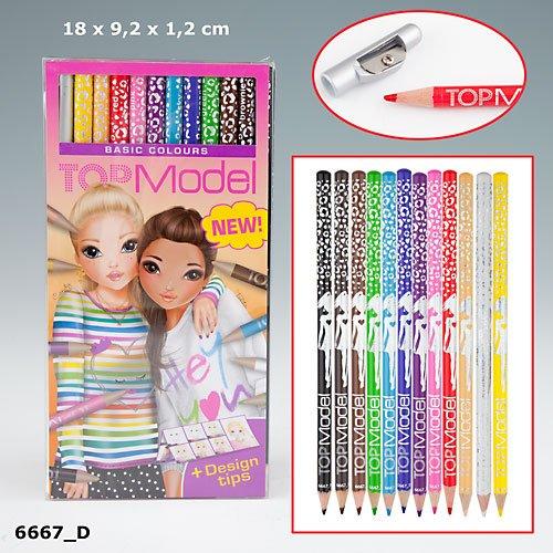 TopModel Buntstifte Basic Colours Grundfarben mit Design Tipps 12er Set Auflage C Spitzer
