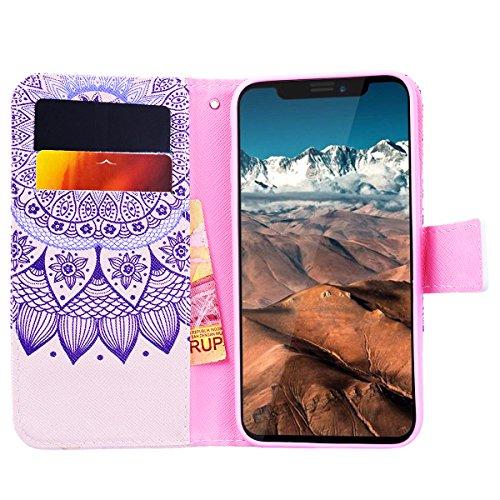 WE LOVE CASE Coque iPhone X, Étui en Cuir a Rabat de Protection Housse Étui iPhone X Portefeuille, Coque avec Rabat Personnalise Girly Fonction Support Stand Fente Carte et Magnétique Fermeture Stitch Fleur