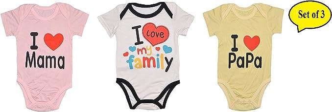 "Baby Bucket Body Suit Romper 2pc ""I Love Mama & I Love PAPA"" Summer Infant Wear Half Sleeves & Cut Leg"