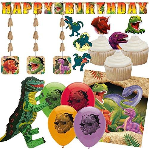 * DINOS * für Kindergeburtstag und Motto-Party // mit Tischdecke + Girlande + Cupcake-Toppers + Luftballons + Decken-Dekoration + Luftschlangen // Kinder Geburtstag Dinosaurier T-Rex (Dinosaurier-geburtstag)