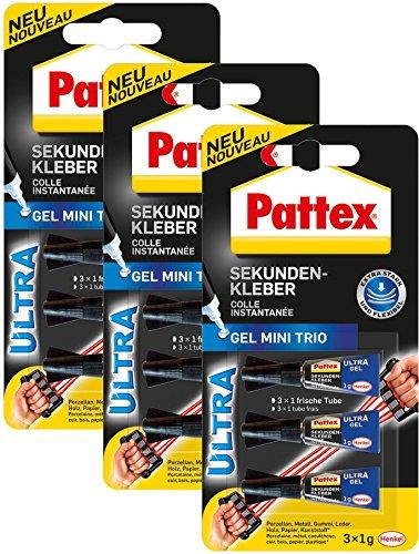 Preisvergleich Produktbild Sekundenkleber Pattex 3x1g gel HENKEL 9H PSMG3 Mini Trio
