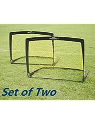 Podiumax Durable Set von 2 Kinder Pop Up Fußball Tor mit Tragetasche (4 * 3 * 3ft)