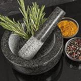 Homiu Premium Solide et Durable Granité Naturel Pilon et Mortier Spice Herb Crusher Grinder Pâte à moudre - Grand diamètre 15.5cm