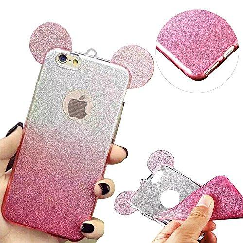 MOMDAD Coque iPhone 5 5S SE Etui iPhone 5 5S SE TPU Silicone Coque iPhone 5 5S SE Coque de Protection en TPU Souple Coque avec Bling Diamant Case-Rose Gradient-Rose