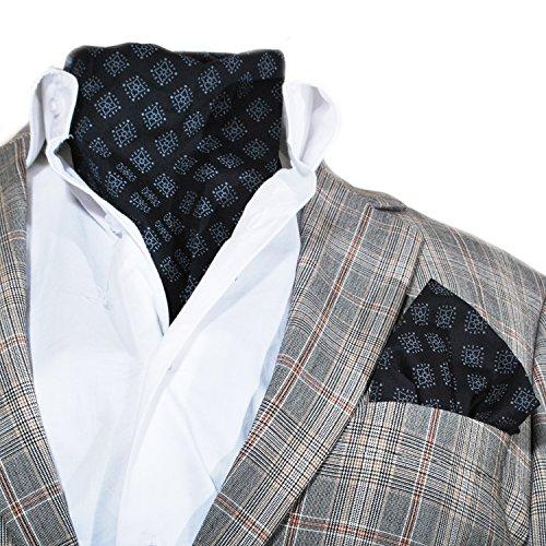 Design Style italien pour homme en coton pour mariage, événements mondains Hanky Cravat de différentes couleurs et de Designs Multicolore - Black & Red Pattern