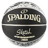 Spalding NBA Sketch Swoosh Outdoor Ball Basketball, schwarz/Weiß, 7