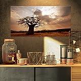 Design Art Großer Baobab Baum unter clouds-modern Landschaft Art Wand canvas-32X 16, 40,6cm H x 81,3cm W x 2,5cm D 1p