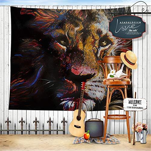 mmzki Europäische und amerikanische Wind Tapisserie Tier Löwe Stranddecke Stranddecke Blumenserie Tapisserie Wanddekoration Strandtuch Strand sitzend Hintergrundbild Wandbild 200x150cm - Roller-schnee-kette