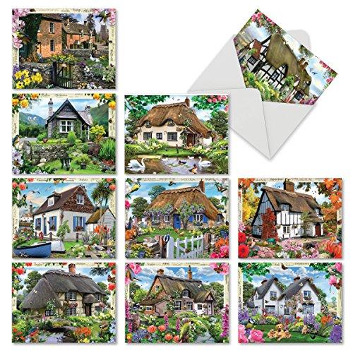 M6644OCB Cottage Life Grußkarten für alle Anlässe, blanko, mit gemütlichen und fröhlichen Raubdachhütten mit üppiger und lebendiger Landschaftsgestaltung, mit weißen Umschlägen, 10 Stück