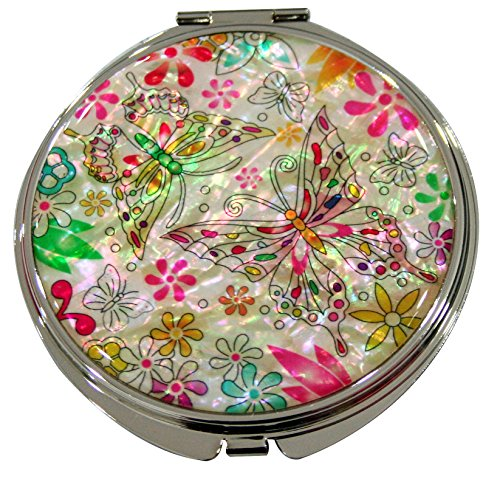 Mother of Pearl Flower & Butterfly Design Double Compact Magnifying Cosmetic Makeup Purse Beauty Pocket Mirror by JMcore Makeup Mirror