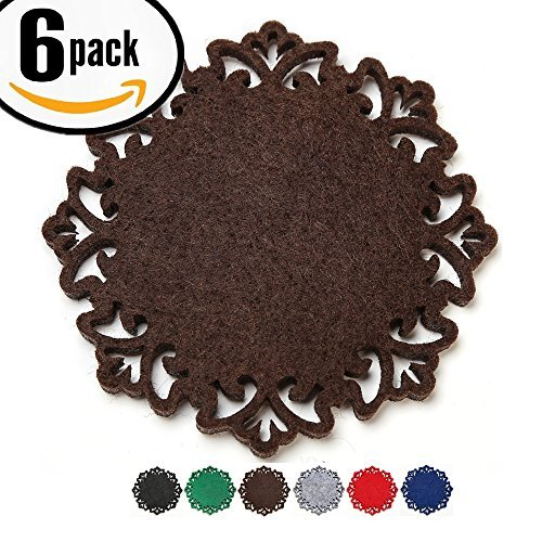 Dulce Cocina Lace Cut Felt Coasters Set of 4 in Chocolate by Dulce Cocina (Espresso-speicher-körbe)
