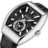 BENYAR Herren Uhr Chronograph Quarz Analog Business Wasserdichtem Rechteckige Armbanduhr mit echtes Lederarmband