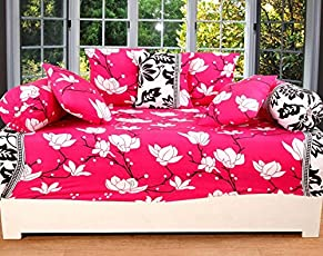 WI International 3D Printed Diwan Sheet with 2 Bolster Covers & 5 Cushion Covers