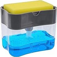 2-in-1 Sponge Rack Shelf Soap Detergent Dispenser Pump Large Capacity with Sponge 1 Hand Operation