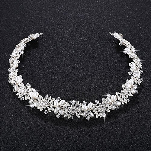 TOOGOO Nachahmung Perle + Legierung Braut Haar Rebe Perlen Hochzeit Haarschmuck Zubehoer Kopfschmuck Frauen Kronen Festzug