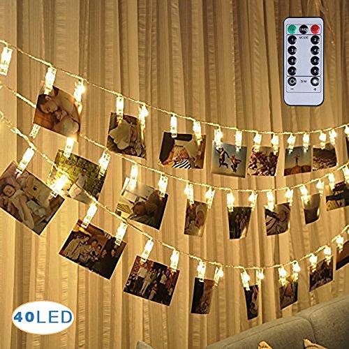 40 LED Foto Clips Lichterketten ,Stimmungsbeleuchtung, Dauerlicht Weihnachtsbeleuchtung Sternenlicht Wanddekoration Licht für hängende Fotos Gemälde Bilder Karte und Memos, (5m) warmes Weiß (40 Fernbedienung)