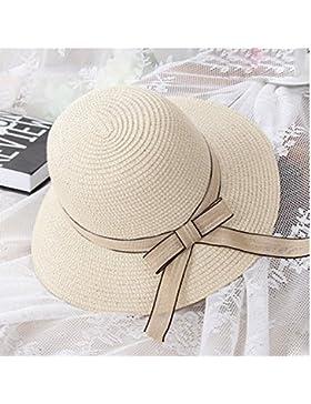 PJ Sombreros Sombrero de Paja Vacaciones Femeninas de Verano Protector Solar Sombrero de Playa Plegable Sombrero...