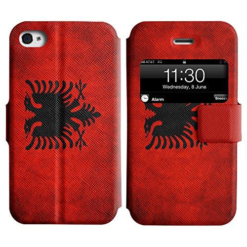 Graphic4You Vintage Uralt Flagge Von Kurdistan Kurdisch Design Leder Schützende Display-Klappe Brieftasche Hülle Case Tasche Schutzhülle für Apple iPhone 4 und 4S Albanien Albanisch