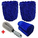 Car Wash Mitt, Meiso 2 Pack Ultra-soft Premium Microfiber Car Cleaning Wash Gloves with Cleaning Cloth and Car Wheel Brush For Car or Household Super Absorbent, Lint Free, Scratch Free
