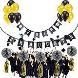 LUOEM 2018 Banners Graduación Bunting Banners Decoración Photo Props Flores de papel tisú y globos para la fiesta de graduación