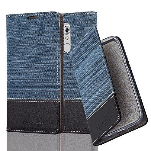 Cadorabo Hülle für ZTE AXON 7 Mini - Hülle in DUNKEL BLAU SCHWARZ – Handyhülle mit Standfunktion und Kartenfach im Stoff Design - Case Cover Schutzhülle Etui Tasche Book