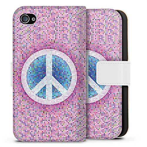 Apple iPhone X Silikon Hülle Case Schutzhülle Peace Hippie Frieden Bunt Sideflip Tasche weiß