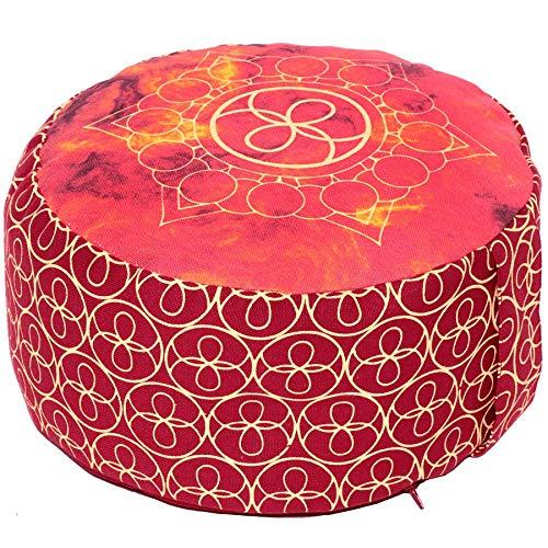 ionskissen/Yogakissen rund, Chakra Style, 15 cm hoch, Bezug 100% Baumwolle waschbar, Yoga-Sitzkissen mit Buchweizenschalen, sozial und fair ()