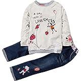 2pcs Neonata Manica Lunga Completini Cartoon Topi Lettera Stampa T-Shirt Cime + Floreale Ricamo Denim Pantaloni Bambina Vesti