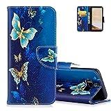 S8 Bunte Muster Schutzhülle,Brieftasche für Samsung S8 - Aeeque [Vintage Blau Golden Schmetterling Muster] Kartenfach Standfunktion Schutzhülle Etui Handytasche für Samsung Galaxy S8 mit Weich Silikon Innere Bumper Schale