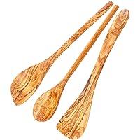 Schwertkrone Lot de 3 cuillères en bois d'olivier | Spatule | Cuillère à risot | pointue et ronde