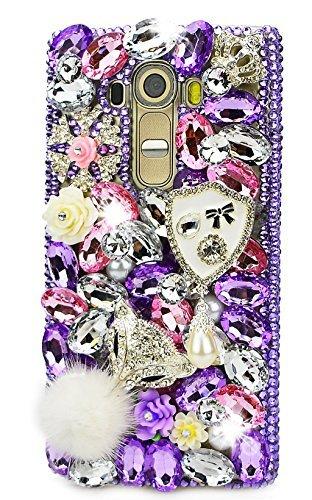 STENES LG G Stylo Case, Luxurious Crystal 3D Handmade Sparkle Diamond Rhinestone Clear Cover with Retro Bowknot Anti Dust Plug - Shield Pearl Pendant Fox Flowers/Purple