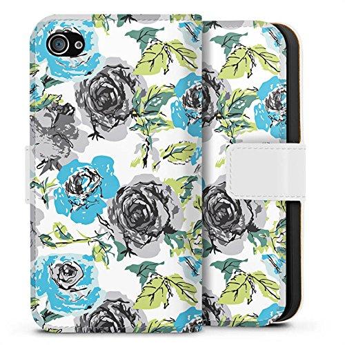 Apple iPhone X Silikon Hülle Case Schutzhülle Rosen Flower Blumenmuster Sideflip Tasche weiß