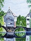 Artland Qualitätsbilder I Wandbilder Selbstklebende Wandfolie 30 x 40 cm Architektur Brücken Malerei Blau B6PD Bad Kreuznach Brückenhäuser
