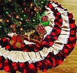 HOMEFAN Weihnachtsbaum-Rock, groß, 120 cm, Leinen, Sackleinen, Weihnachtsbaum-Rock mit kariertem Rüschenrand für Weihnachten, Partys, Urlaub, Zuhause