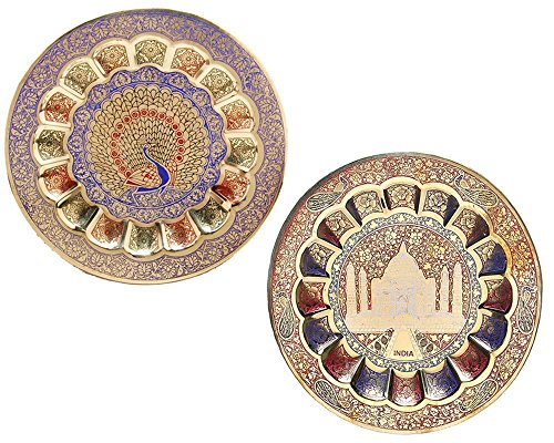 Decorative Wall Hanging Plate for Showpiece Bras wall Plate Home decor Item Pack Of 2 Pcs Peacock & Taj Mehal Design Plate