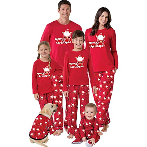 Pigiama Famiglia Indumenti da Notte Abiti Natalizi Tuta Elegante 2PC Uomo Donna Bambini T-Shirt Babbo Natale Tops + Pantaloni Set Casa-Padre Pigiama Set