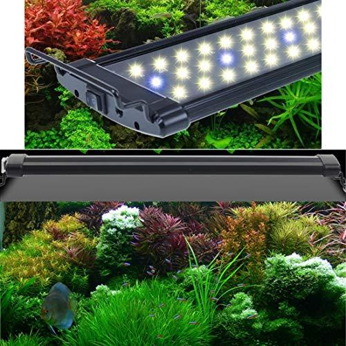 LHY LIGHT Plafoniera LED Acquario Luci Fish Tank Clip Illuminazione Water Grass Lamp Upgrade con staffe estendibili,90to125cm
